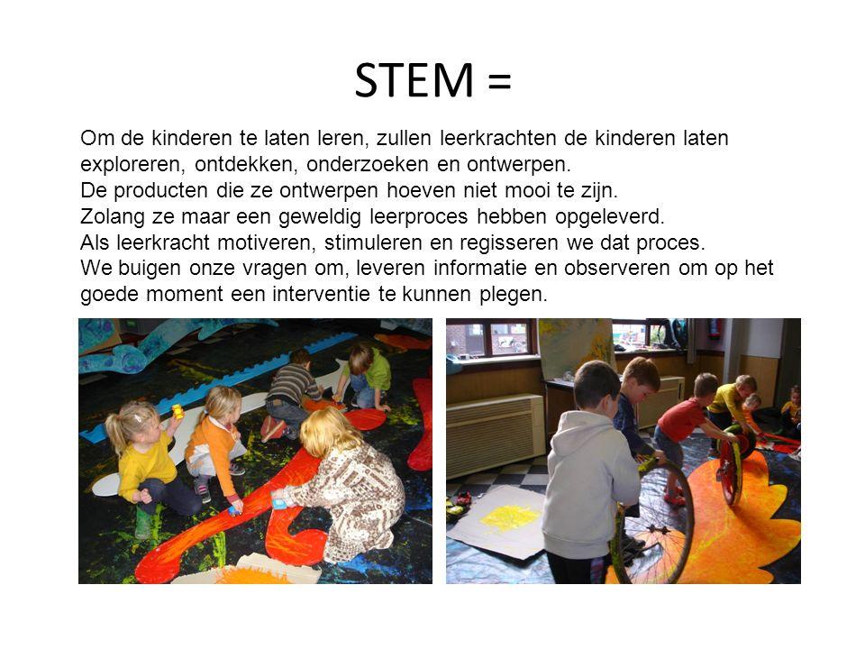 STEM = Om de kinderen te laten leren, zullen leerkrachten de kinderen laten exploreren, ontdekken, onderzoeken en ontwerpen. De producten die ze ontwe