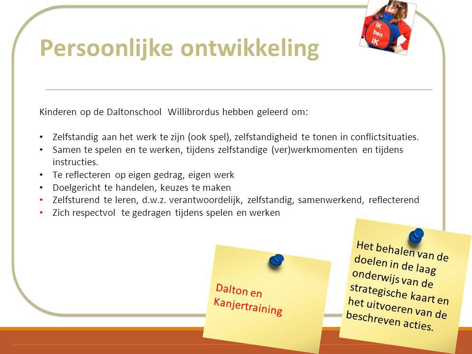 Persoonlijke ontwikkeling Kinderen op de Daltonschool Willibrordus hebben geleerd om: ▪Zelfstandig aan het werk te zijn (ook spel), zelfstandigheid te tonen in conflictsituaties.