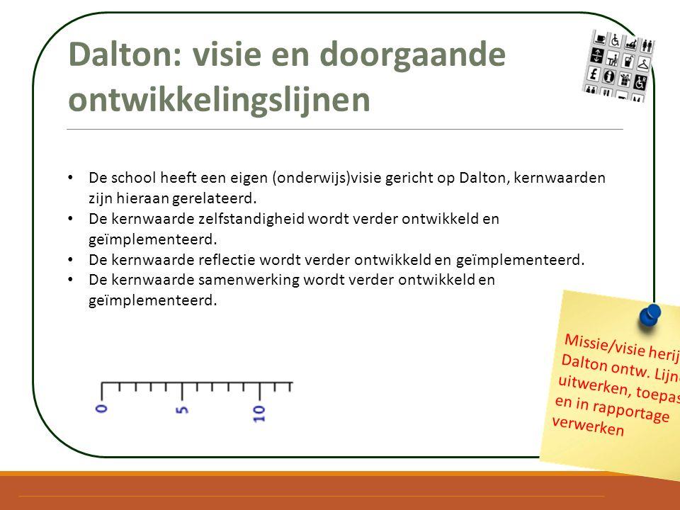 Dalton: visie en doorgaande ontwikkelingslijnen De school heeft een eigen (onderwijs)visie gericht op Dalton, kernwaarden zijn hieraan gerelateerd. De