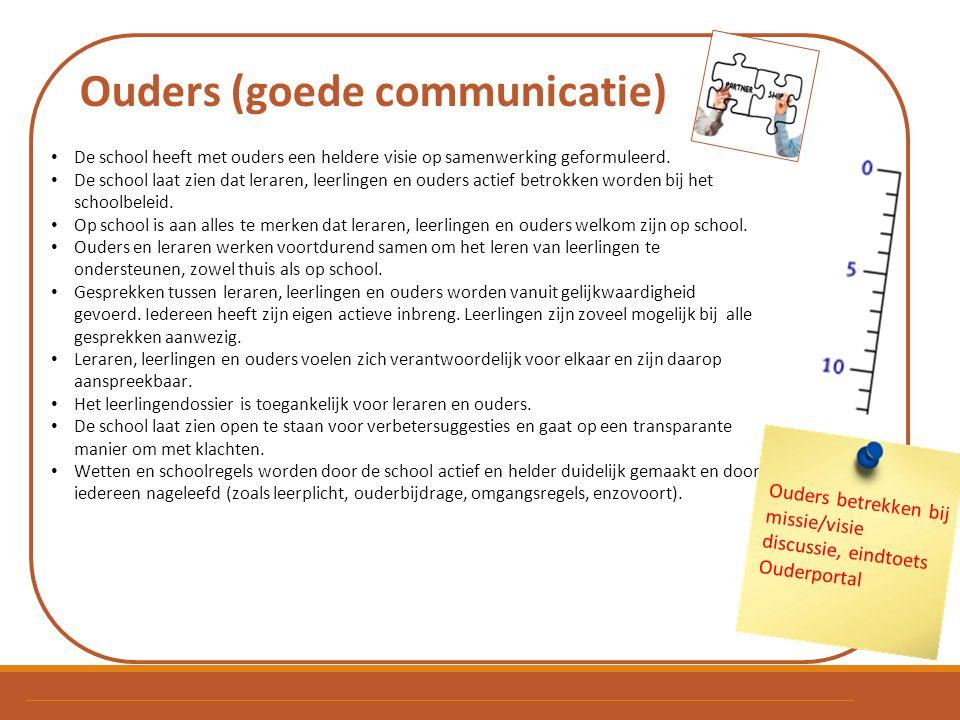 Ouders (goede communicatie) De school heeft met ouders een heldere visie op samenwerking geformuleerd. De school laat zien dat leraren, leerlingen en