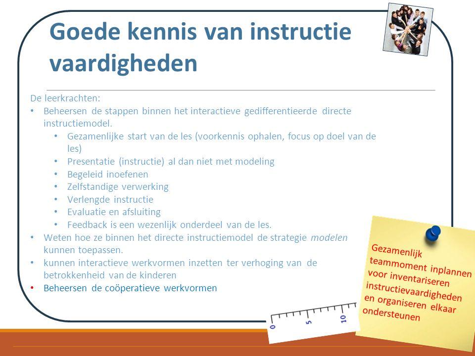 Goede kennis van instructie vaardigheden De leerkrachten: Beheersen de stappen binnen het interactieve gedifferentieerde directe instructiemodel.
