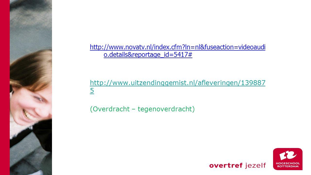 http://www.novatv.nl/index.cfm?ln=nl&fuseaction=videoaudi o.details&reportage_id=5417# http://www.uitzendinggemist.nl/afleveringen/139887 5 (Overdrach