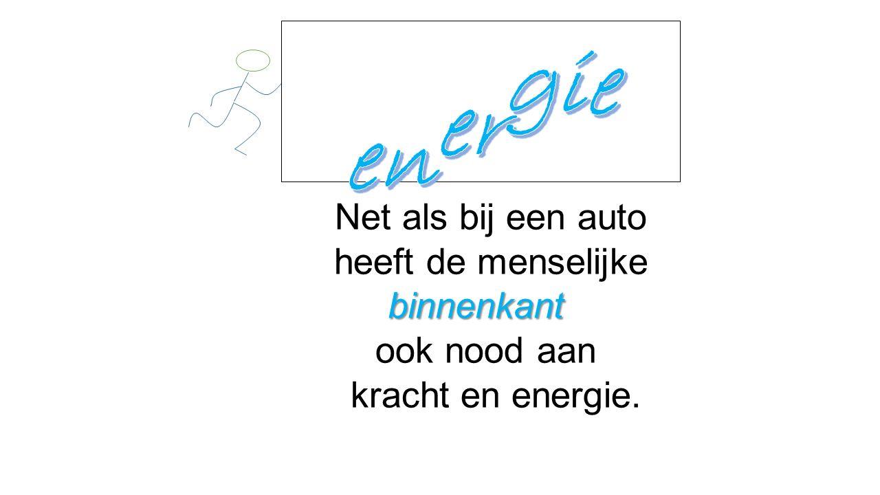 Net als bij een auto heeft de menselijke binnenkant binnenkant ook nood aan kracht en energie.