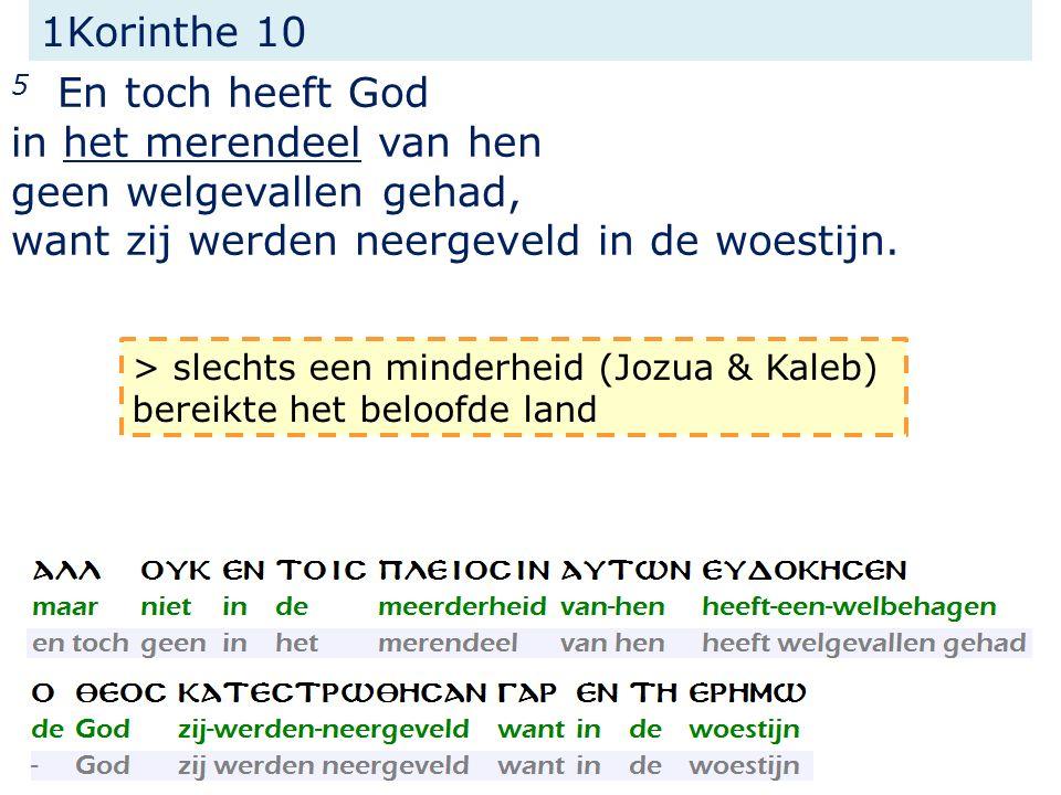 1Korinthe 10 5 En toch heeft God in het merendeel van hen geen welgevallen gehad, want zij werden neergeveld in de woestijn.