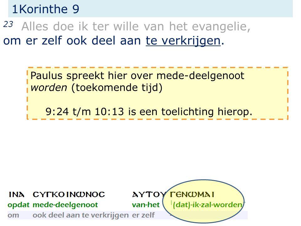 1Korinthe 9 23 Alles doe ik ter wille van het evangelie, om er zelf ook deel aan te verkrijgen. Paulus spreekt hier over mede-deelgenoot worden (toeko