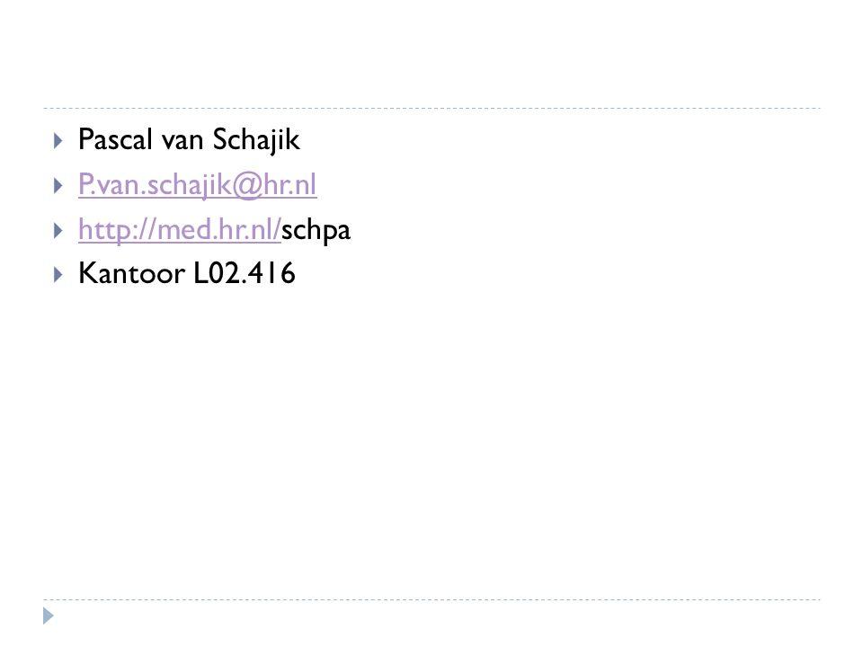  Pascal van Schajik  P.van.schajik@hr.nl P.van.schajik@hr.nl  http://med.hr.nl/schpa http://med.hr.nl/  Kantoor L02.416