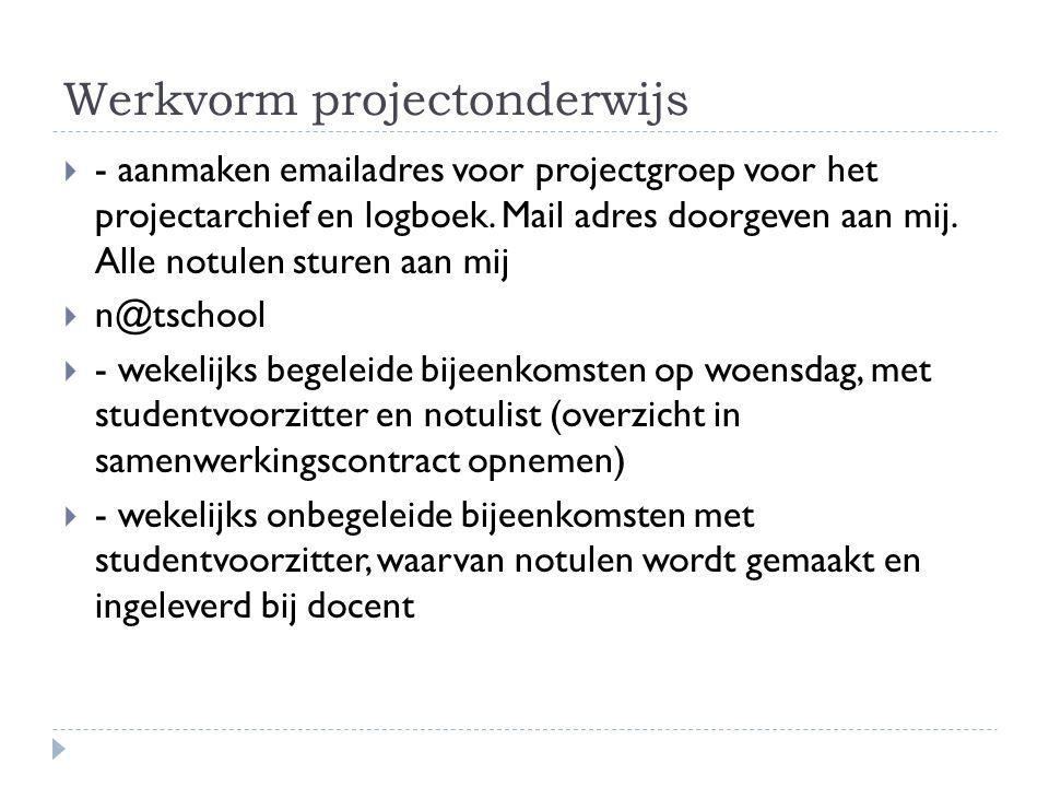 Werkvorm projectonderwijs  - aanmaken emailadres voor projectgroep voor het projectarchief en logboek.