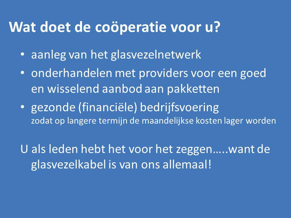 Wat doet de coöperatie voor u? aanleg van het glasvezelnetwerk onderhandelen met providers voor een goed en wisselend aanbod aan pakketten gezonde (fi