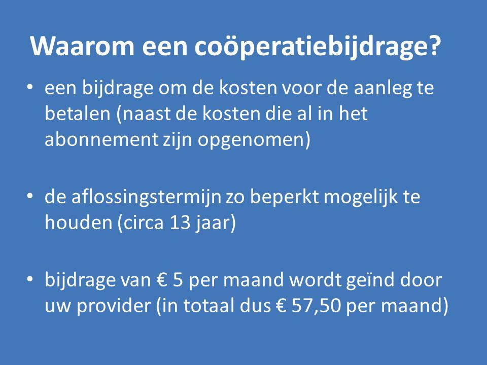 Waarom een coöperatiebijdrage? een bijdrage om de kosten voor de aanleg te betalen (naast de kosten die al in het abonnement zijn opgenomen) de afloss