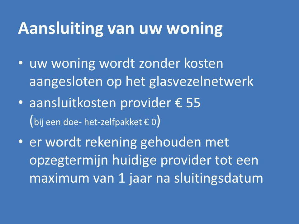 Aansluiting van uw woning uw woning wordt zonder kosten aangesloten op het glasvezelnetwerk aansluitkosten provider € 55 ( bij een doe- het-zelfpakket