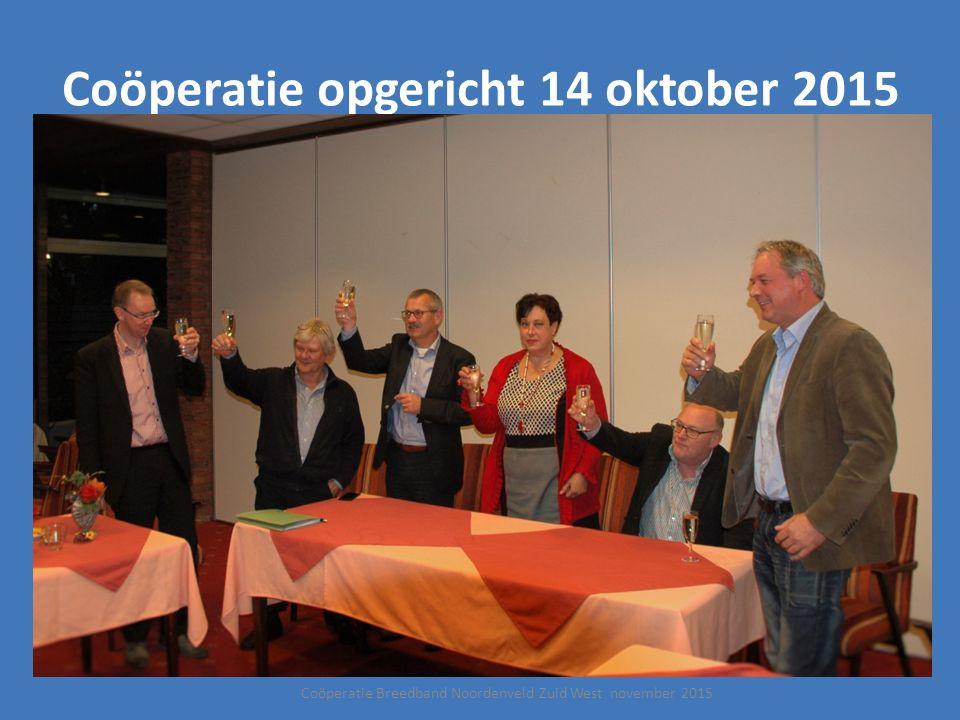 Coöperatie opgericht 14 oktober 2015