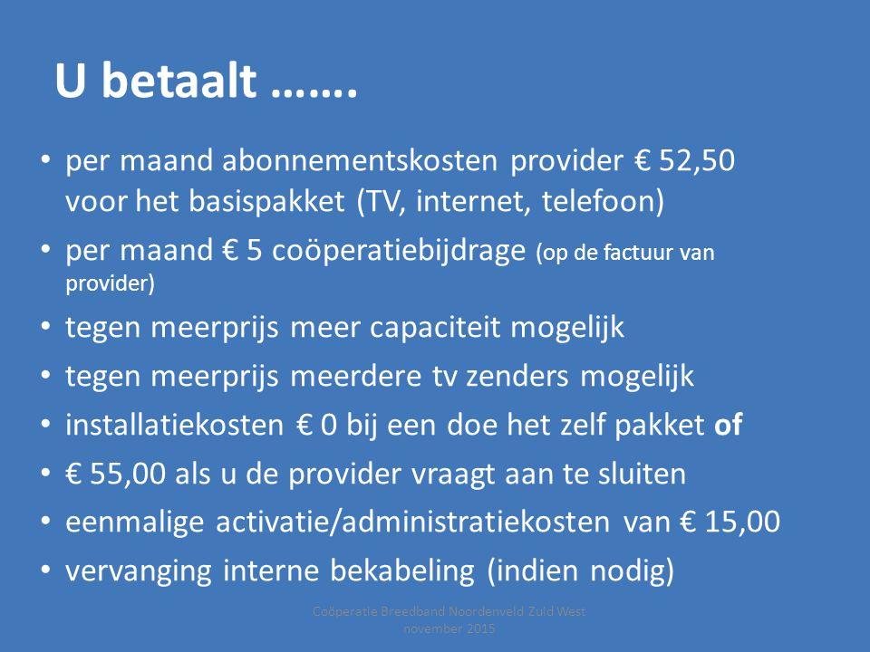 Coöperatie Breedband Noordenveld Zuid West november 2015 U betaalt ……. per maand abonnementskosten provider € 52,50 voor het basispakket (TV, internet