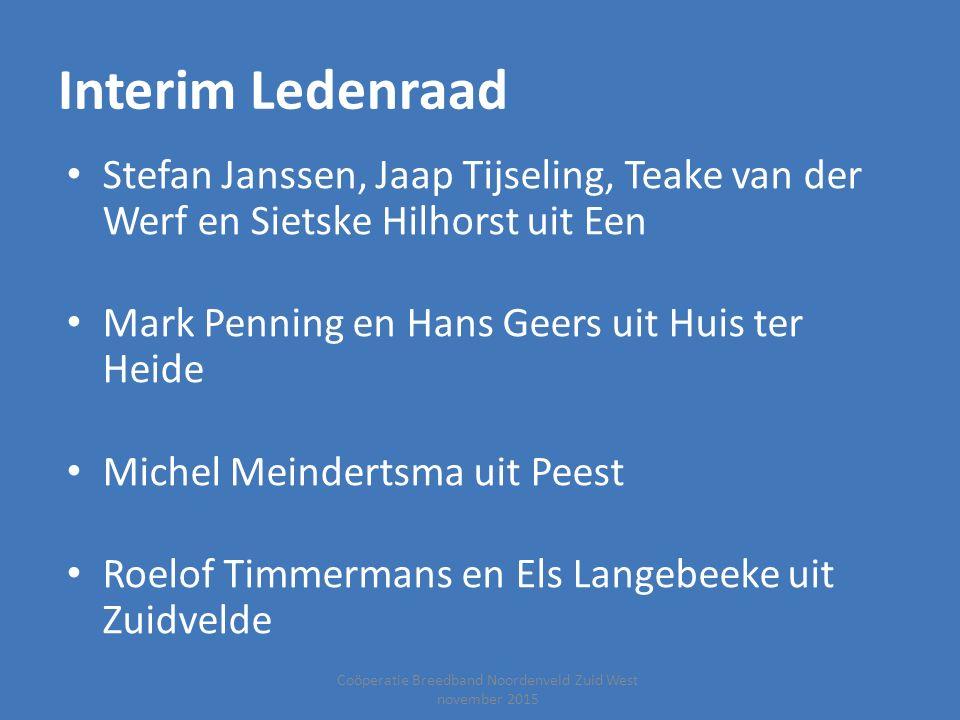 Coöperatie Breedband Noordenveld Zuid West november 2015 Interim Ledenraad Stefan Janssen, Jaap Tijseling, Teake van der Werf en Sietske Hilhorst uit