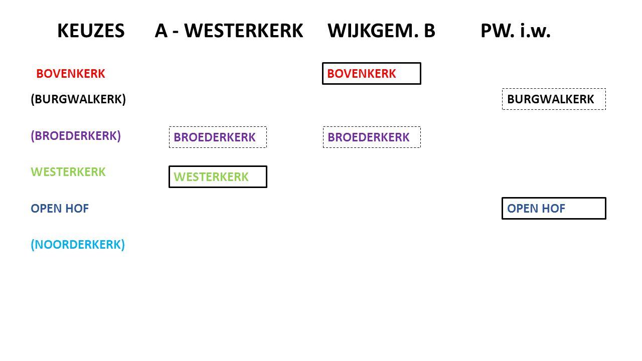 (BURGWALKERK) (BROEDERKERK) BOVENKERK WESTERKERK OPEN HOF (NOORDERKERK) WIJKGEM.