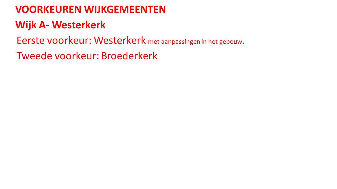VOORKEUREN WIJKGEMEENTEN Wijk A- Westerkerk Eerste voorkeur: Westerkerk met aanpassingen in het gebouw.
