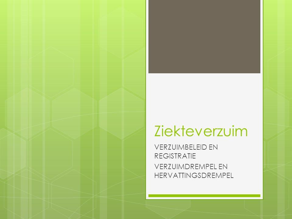 Ziekteverzuim VERZUIMBELEID EN REGISTRATIE VERZUIMDREMPEL EN HERVATTINGSDREMPEL