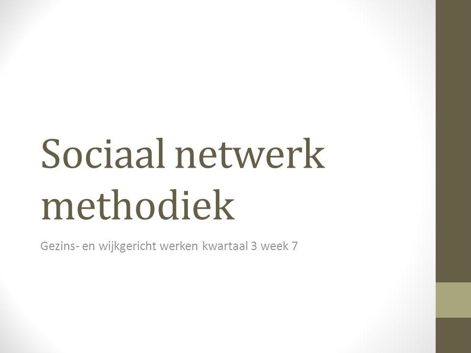Sociaal netwerk methodiek Gezins- en wijkgericht werken kwartaal 3 week 7