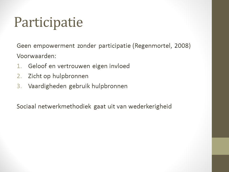 Participatie Geen empowerment zonder participatie (Regenmortel, 2008) Voorwaarden: 1.Geloof en vertrouwen eigen invloed 2.Zicht op hulpbronnen 3.Vaard