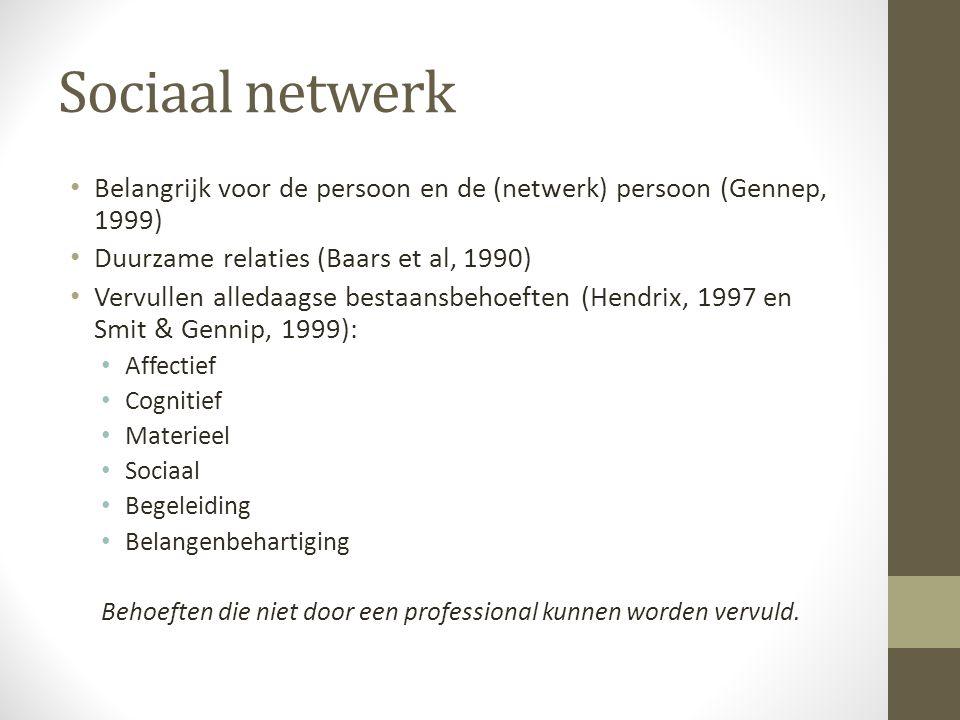 Sociaal netwerk Belangrijk voor de persoon en de (netwerk) persoon (Gennep, 1999) Duurzame relaties (Baars et al, 1990) Vervullen alledaagse bestaansb