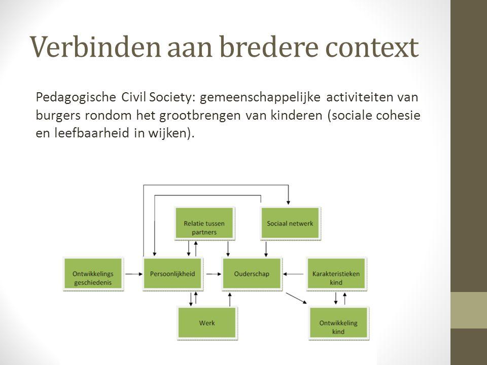 Verbinden aan bredere context Pedagogische Civil Society: gemeenschappelijke activiteiten van burgers rondom het grootbrengen van kinderen (sociale co