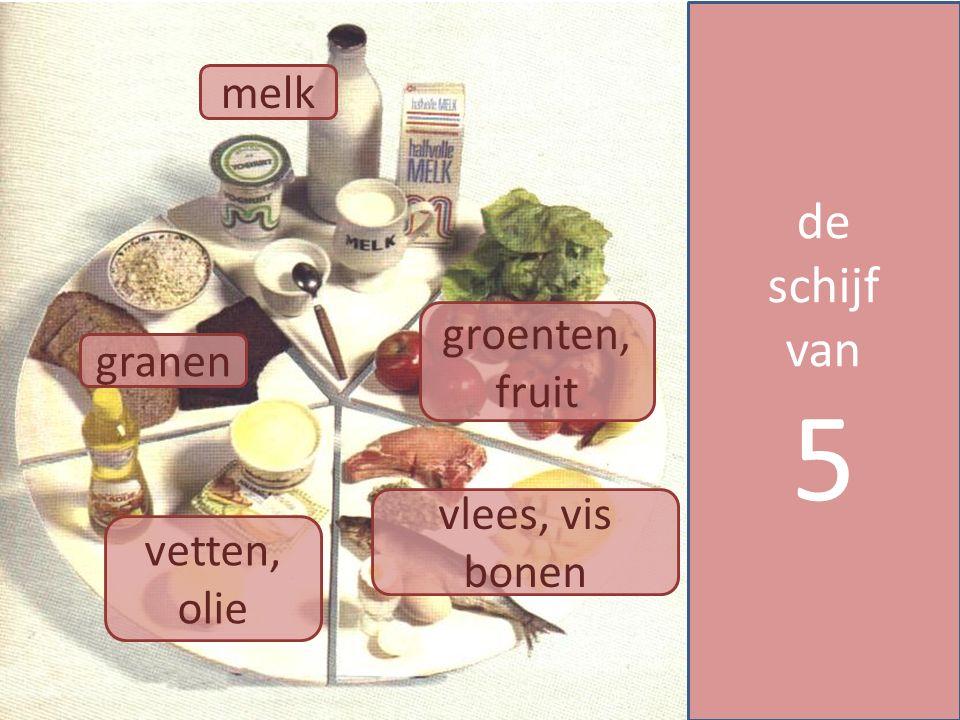 granen groenten, fruit melk vlees, vis bonen vetten, olie de schijf van 5