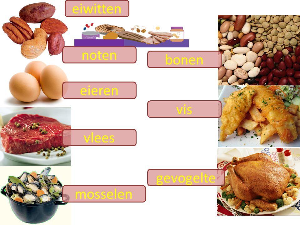 vis eieren vlees gevogelte bonen mosselen noten eiwitten