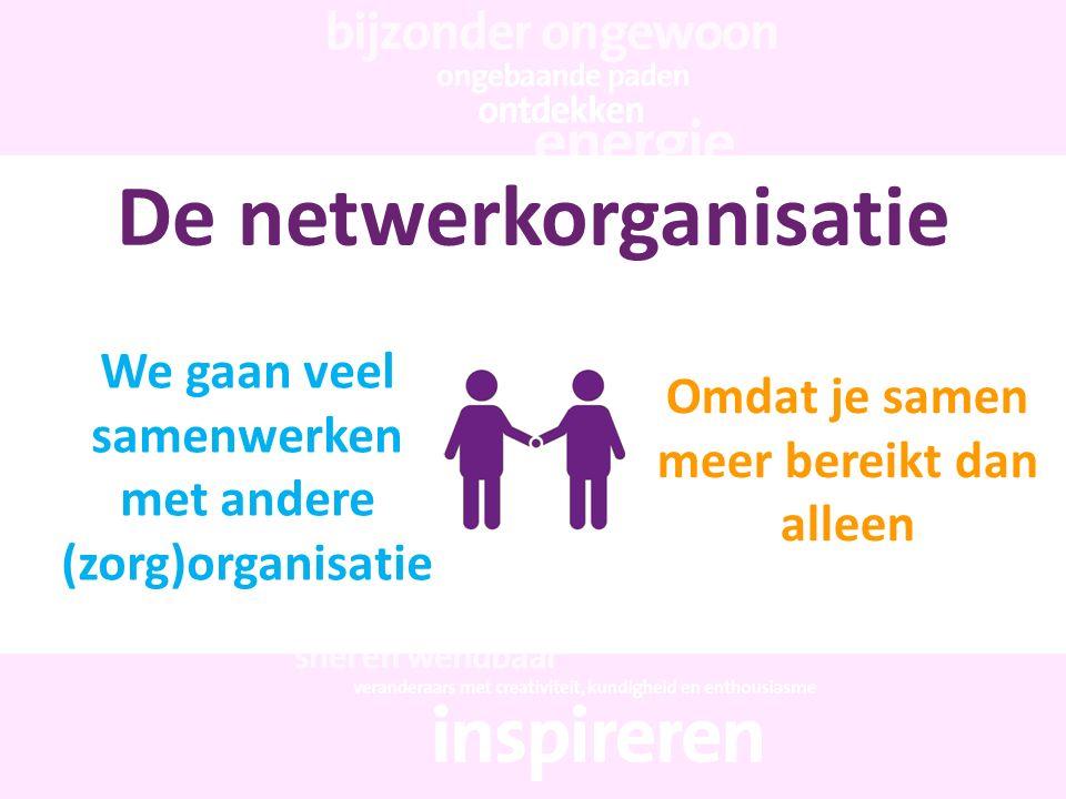 De netwerkorganisatie We gaan veel samenwerken met andere (zorg)organisatie Omdat je samen meer bereikt dan alleen