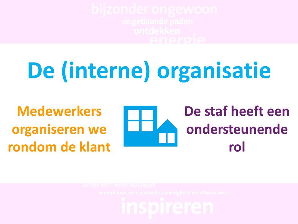 De (interne) organisatie Medewerkers organiseren we rondom de klant De staf heeft een ondersteunende rol