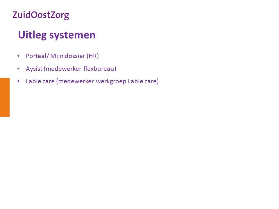 Uitleg systemen Portaal/ Mijn dossier (HR) Aysist (medewerker flexbureau) Lable care (medewerker werkgroep Lable care)