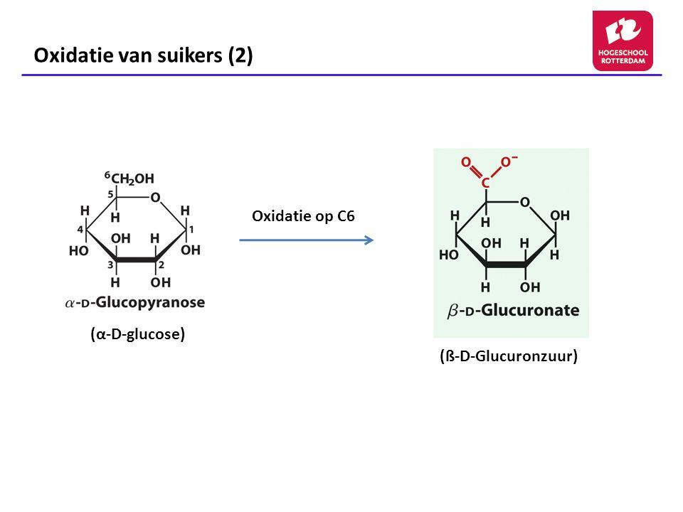 Suikers als reducerend agens (1) Glucose en andere suikers zijn in staat op te treden als reducerende agentia Basis van de Fehlingsreactie, een qualitatieve test voor de aanwezigheid van een reducerend suiker