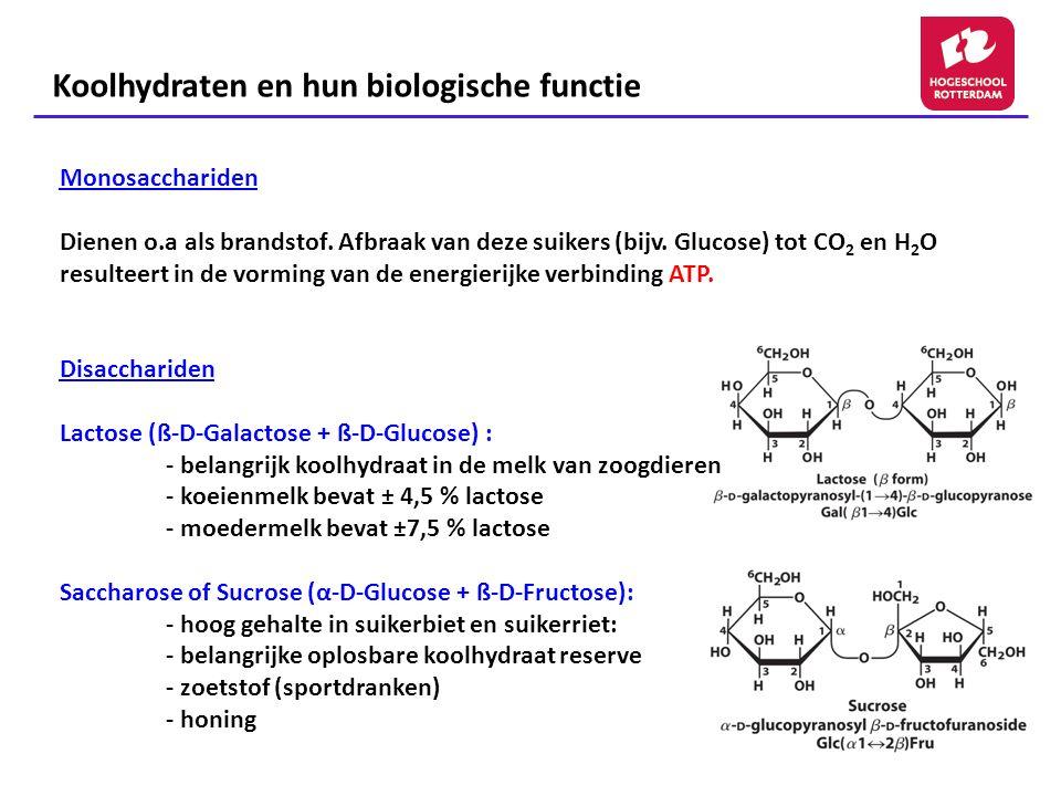 Koolhydraten en hun biologische functie Honing: Invertase Saccharose glucose + fructose (in nectar) Het enzym invertase is aanwezig in het spijsverteringskanaal van bijen nectar Via enzymatische hydrolyse