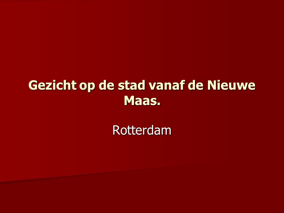 Beschrijving: Roterodamum, Rotterdam.Gezicht op de stad vanaf de Nieuwe Maas.