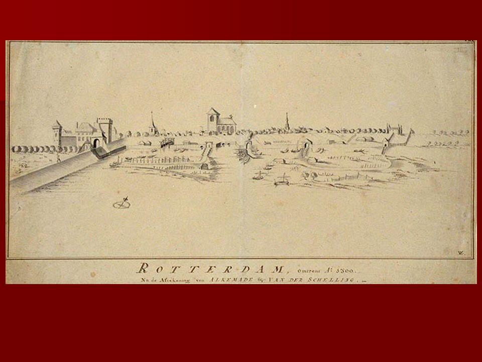 Rotterdam, een blaejende koopstadt in Hollant aen de Merwe of Maze, geboorteplaets van grooten Erasmus   Roterodamum ad Mosam, florentissimum emporium, cunis Erasmi celebre   Rotterdam 1702