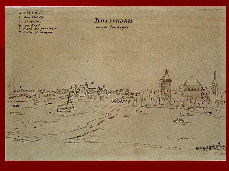 De ingang van de Oude Haven links de Wester Oude Hoofdpoort, rechts de veel grotere Ooster Oude Hoofdpoort 1720 1720