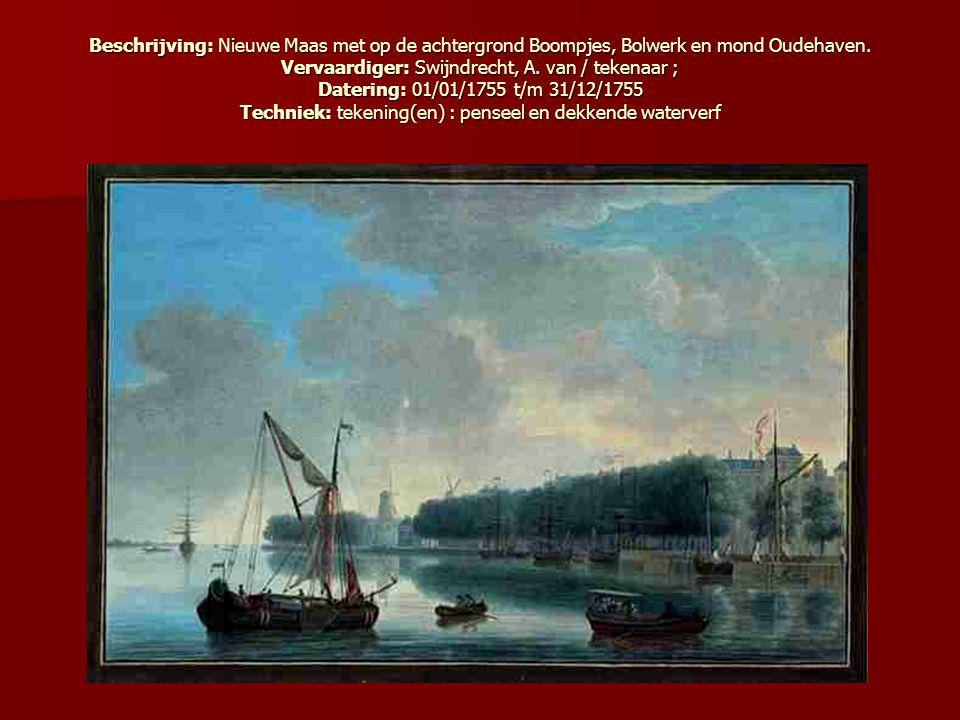Beschrijving: Nieuwe Maas met op de achtergrond Boompjes, Bolwerk en mond Oudehaven.