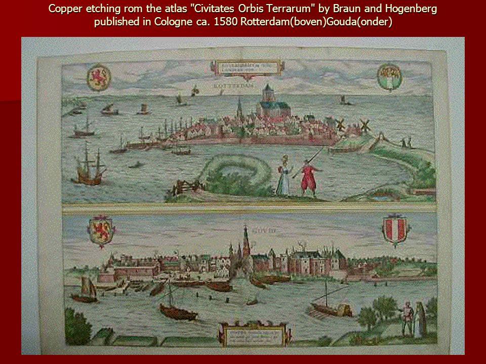 Titel: Rotterdam Ville marchande tres renomée en Hollande Beschrijving: Gezicht op de stad vanaf de Nieuwe Maas in spiegelbeeld.