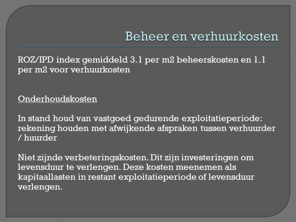 ROZ/IPD index gemiddeld 3.1 per m2 beheerskosten en 1.1 per m2 voor verhuurkosten Onderhoudskosten In stand houd van vastgoed gedurende exploitatieper