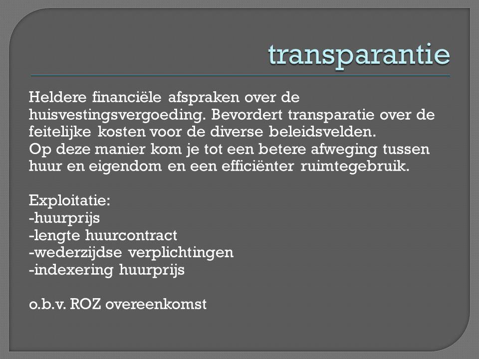 Heldere financiële afspraken over de huisvestingsvergoeding. Bevordert transparatie over de feitelijke kosten voor de diverse beleidsvelden. Op deze m