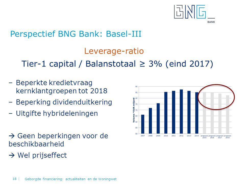Perspectief BNG Bank: Basel-III Geborgde financiering: actualiteiten en de Woningwet 18 | Leverage-ratio Tier-1 capital / Balanstotaal ≥ 3% (eind 2017) –Beperkte kredietvraag kernklantgroepen tot 2018 –Beperking dividenduitkering –Uitgifte hybrideleningen  Geen beperkingen voor de beschikbaarheid  Wel prijseffect
