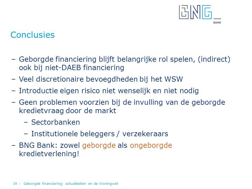 Conclusies Geborgde financiering: actualiteiten en de Woningwet19 | –Geborgde financiering blijft belangrijke rol spelen, (indirect) ook bij niet-DAEB