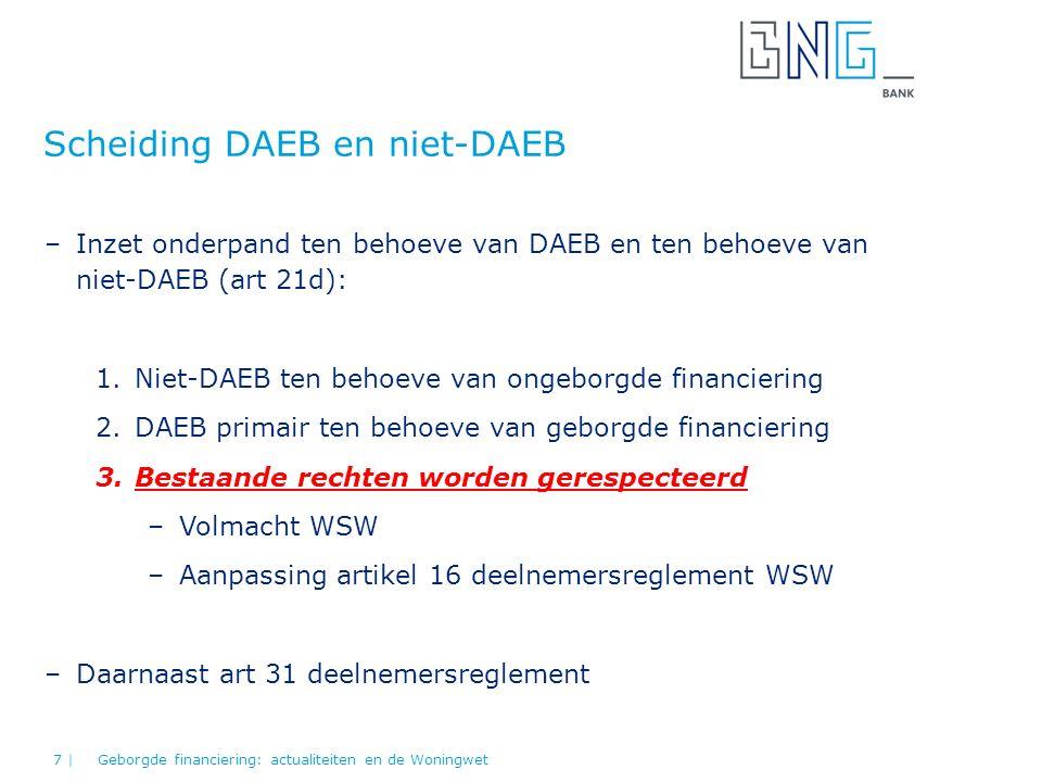 Scheiding DAEB en niet-DAEB Geborgde financiering: actualiteiten en de Woningwet7 | –Inzet onderpand ten behoeve van DAEB en ten behoeve van niet-DAEB (art 21d): 1.Niet-DAEB ten behoeve van ongeborgde financiering 2.DAEB primair ten behoeve van geborgde financiering 3.Bestaande rechten worden gerespecteerd –Volmacht WSW –Aanpassing artikel 16 deelnemersreglement WSW –Daarnaast art 31 deelnemersreglement