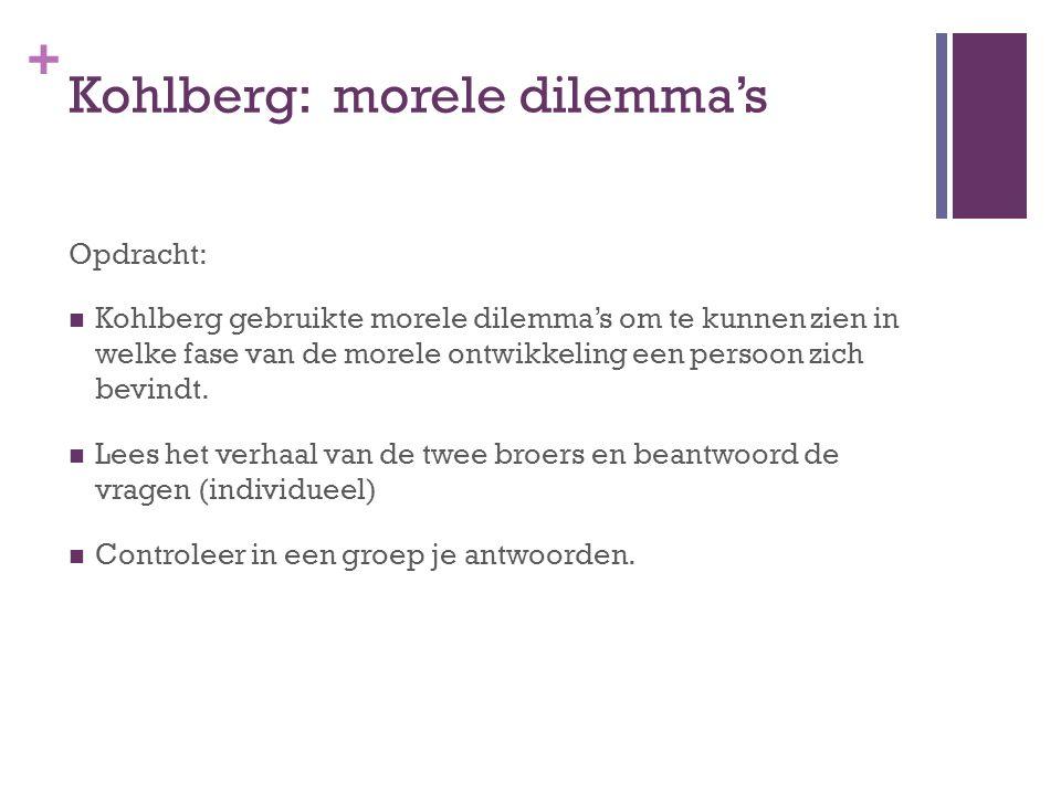+ Kohlberg: morele dilemma's Opdracht: Kohlberg gebruikte morele dilemma's om te kunnen zien in welke fase van de morele ontwikkeling een persoon zich