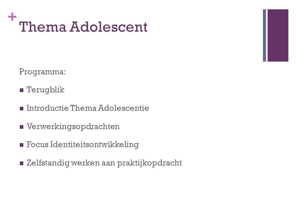 + Thema Adolescent Programma: Terugblik Introductie Thema Adolescentie Verwerkingsopdrachten Focus Identiteitsontwikkeling Zelfstandig werken aan prak