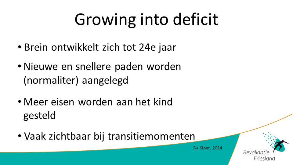 Growing into deficit Brein ontwikkelt zich tot 24e jaar Nieuwe en snellere paden worden (normaliter) aangelegd Meer eisen worden aan het kind gesteld Vaak zichtbaar bij transitiemomenten De Kloet, 2014