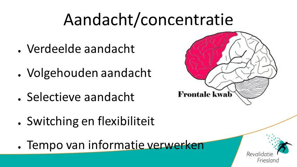 Aandacht/concentratie ● Verdeelde aandacht ● Volgehouden aandacht ● Selectieve aandacht ● Switching en flexibiliteit ● Tempo van informatie verwerken