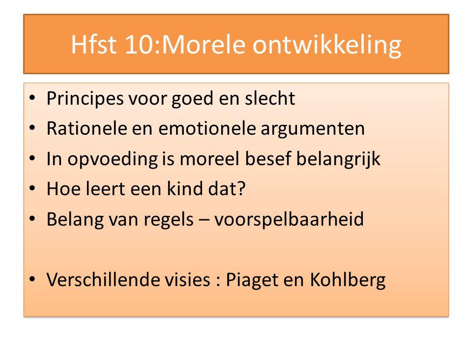 Hfst 10:Morele ontwikkeling Principes voor goed en slecht Rationele en emotionele argumenten In opvoeding is moreel besef belangrijk Hoe leert een kin
