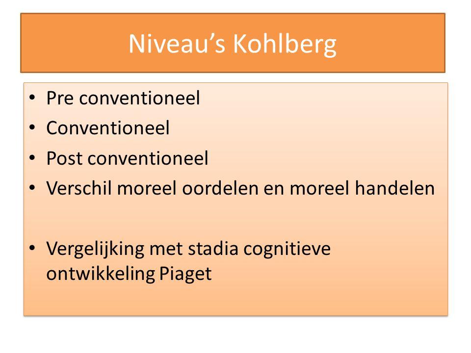 Niveau's Kohlberg Pre conventioneel Conventioneel Post conventioneel Verschil moreel oordelen en moreel handelen Vergelijking met stadia cognitieve on