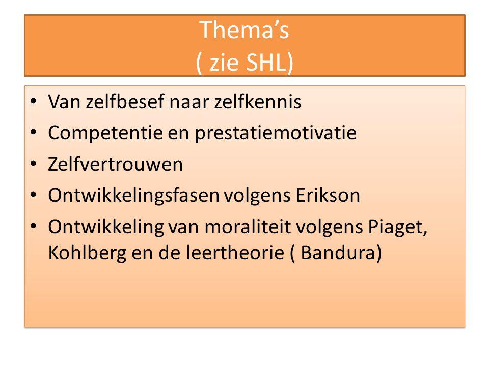 Thema's ( zie SHL) Van zelfbesef naar zelfkennis Competentie en prestatiemotivatie Zelfvertrouwen Ontwikkelingsfasen volgens Erikson Ontwikkeling van