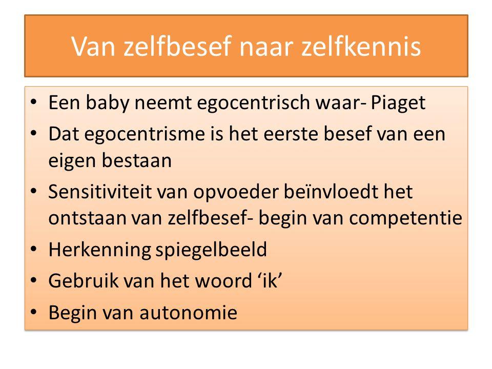 Van zelfbesef naar zelfkennis Een baby neemt egocentrisch waar- Piaget Dat egocentrisme is het eerste besef van een eigen bestaan Sensitiviteit van op