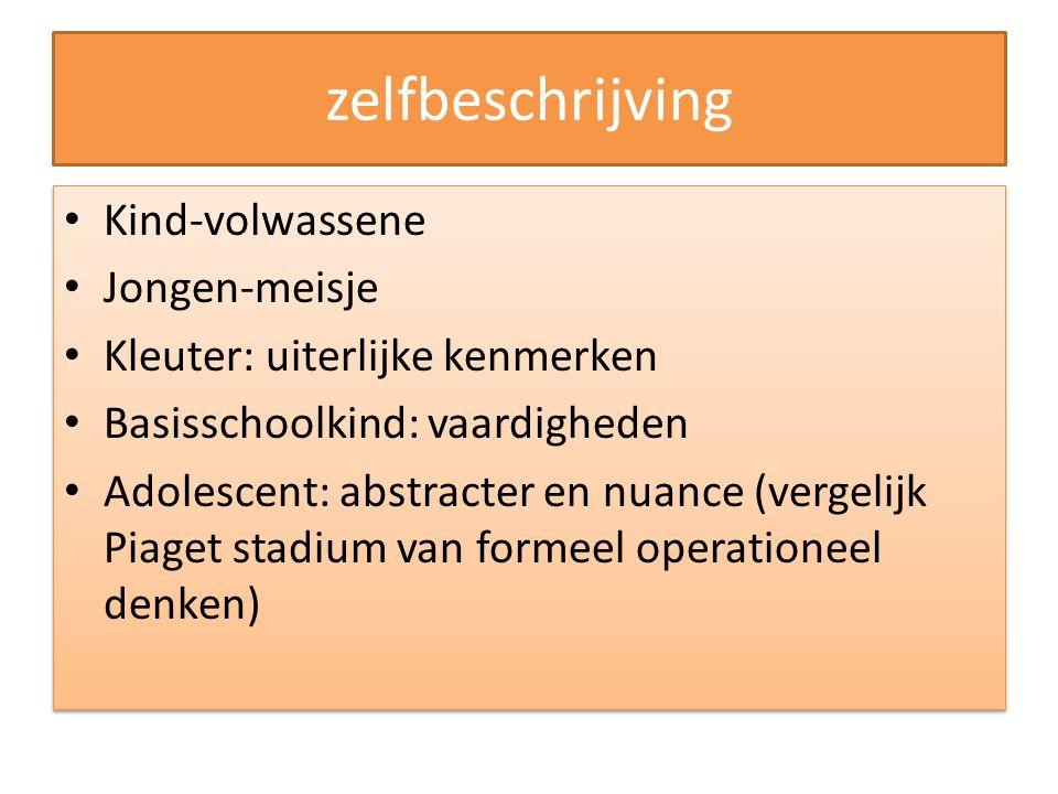 zelfbeschrijving Kind-volwassene Jongen-meisje Kleuter: uiterlijke kenmerken Basisschoolkind: vaardigheden Adolescent: abstracter en nuance (vergelijk
